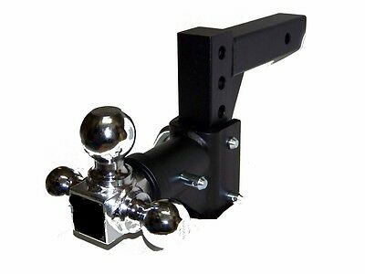 $90.25 • Buy 2  Receiver H D Tri-ball Swivel Adjustable Trailer Tow Drop Hitch Ball Mount