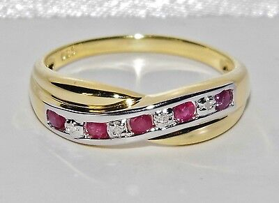 9ct Yellow Gold & Silver Ruby & Diamond Crossover Eternity Ring Size R • 40.50£