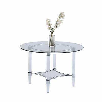 $829.49 • Buy Somette 48  Round Glass And Acrylic Dining Table - Clear Clear