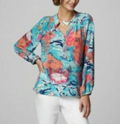 Lilly Pulitzer Silk Elsa Top/Blouse, X Marks The Spot, Size Medium/8/10 • 44.99$