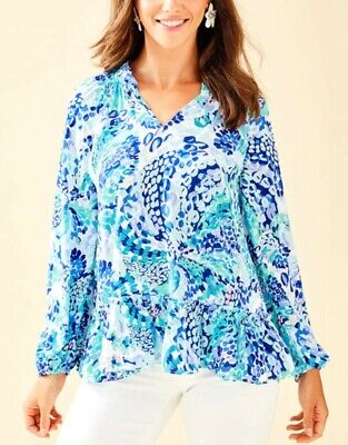 Lilly Pulitzer Savanna Top, Wave After Wave, Size Medium/8/10, Ruffle • 39.99$