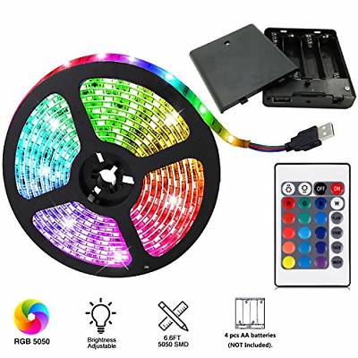$13.45 • Buy Battery Powered Led Light Strip Changing Color RGB Waterproof Easy Install New