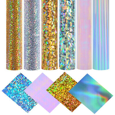 Holographic Self Adhesive Vinyl Film Back Sticky Craft Paper Sheets Roll Bundle • 5.29£