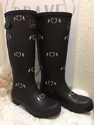 JOULES Womans Tall Rain Boots Dogs Pattern Size 7 US Very Gently Worn • 44.99$