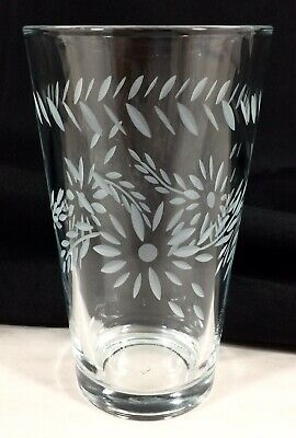 Libbey Glass Floral Leaves Gray Cut Tumbler Highball 16 Oz. 5 3/4  Vtg EX! RARE! • 9.99$