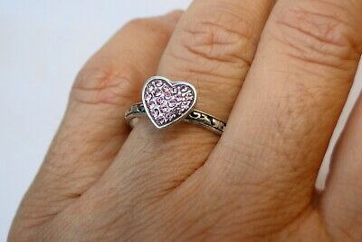 New Authentic Brighton Rock Romance Silver & Pink Crystal Heart Ring Size 9 • 22.90$