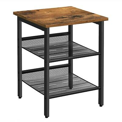 £31.99 • Buy Industrial Side Table Nightstand End Table With 2 Mesh Shelves Bedroom LET23X