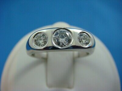 $750 • Buy 14k White Gold Gypsy Ring With 0.60 Ct. 3 Natural Diamonds, Solid Back, Size 6