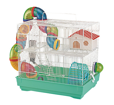 2-Tier Hamster Cage Small Rodent House Gerbil Mice Mouse Cages Animal Play Home • 24.95£