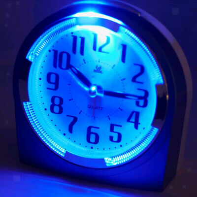 AU14.25 • Buy Analog Quartz Quiet Sweep Alarm Clock Bedside Bed Clock With Night Light-Purple