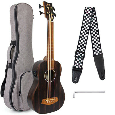AU200.99 • Buy AKLOT Bass Ukulele Lined Fretless Ubass Blackwood Aquila String EADG W/Bag Strap