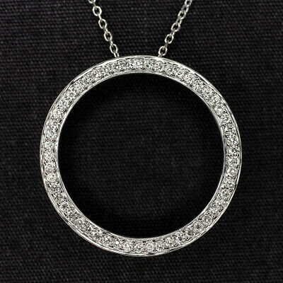$389 • Buy Ideal Cut Diamond Circle Necklace 18k 1/2 Carat Natural G Si Pendant White Gold