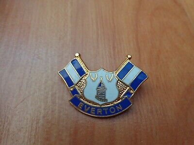 Classic Everton Fc Crest + 2 Flags Enamel Football Pin Badge • 9.99£
