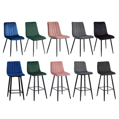 £89.99 • Buy 2/4/6 Dining Chairs Set Velvet Padded Seat Metal Legs Kitchen Chair Home Office