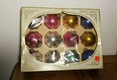 $ CDN45 • Buy Lot Of 12 Vintage Glass Shiny Brite Christmas Ornaments In Original Box