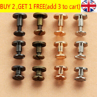 10 Pcs Belt Screw Brass Solid Rivets Stud Head Leather Craft Nail For Wallet • 3.41£
