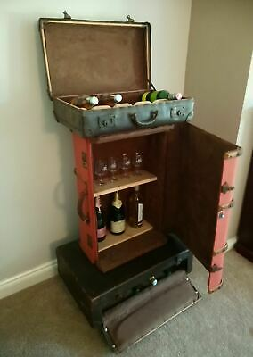 Vintage Suitcase Drinks Cabinet - Retro, Upcycled Furniture • 450£