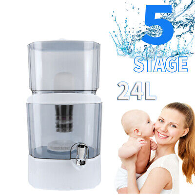 24L 5 Stage Carbon  Filter Pure Water Purifier Filtration System For Home Office • 34.99£