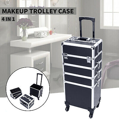 $73.99 • Buy Professional 4 In1 Makeup Case Rolling Beauty Salon Organizer Aluminum Box Black