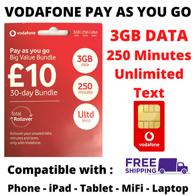 £9.49 • Buy Vodafone Pay As You Go Sim Card With £10 Preloaded Credit 3GB Data Unlimited Txt
