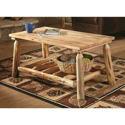 $139.99 • Buy Rustic Natural Pine Log Coffee Table Premium Lacquer Finish Solid Wood Furniture