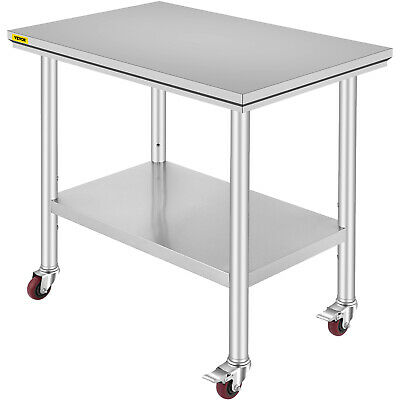 Rolling Top Kitchen Work Table Cart + Casters Shelving 36 X24  Stainless Steel • 116.17£