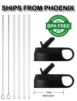 $10.95 • Buy 2 Pack Black Straw Lids Fits Hydro Flask 4 Straws 2 Cleaning Brushes 32oz Ounce