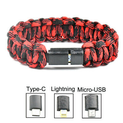 $2.79 • Buy USB 2.0 Charging Cable Survival Bracelet Data Charger Cord For Apple Android
