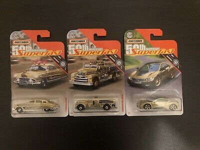 $10 • Buy Lot If 3 Matchbox 2019 50th Anniversary Superfast Gold Hudson, Seagrave & BMW I8