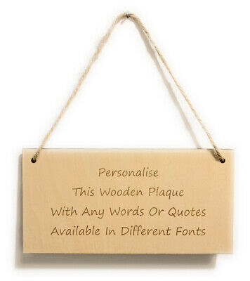 Personalised Wooden Sign Plaque Custom Bespoke Made Wall Door Hanging Gift Idea • 4.89£