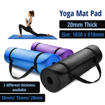 AU16.99 • Buy 10/15/20MM Thick Yoga Mat Pad NBR Nonslip Exercise Fitness Pilate Gym Durable AU