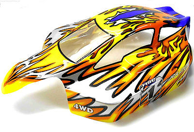 81344 Off Road Nitro RC R/C 1/8 Scale Buggy Body Shell Cover Flame • 17.09£
