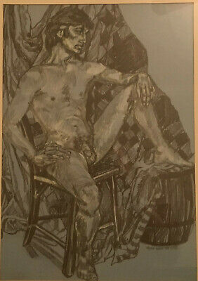 £67.26 • Buy Signed 1972 Art Institute Charcoal, Pencil, And Pen Nude Study On Blue Paper