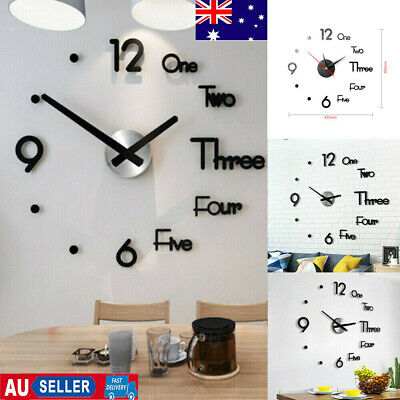 AU10.49 • Buy Large Wall Clock Big Watch Decal 3D Stickers Roman Numerals DIY Wall Modern Home