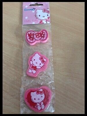 Hello Kitty Pink Erasers Rubbers Craft Set Of 3 • 1.95£