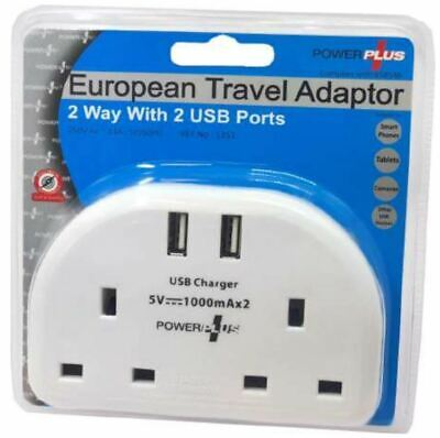 2 Way UK To European Travel Adaptor With Double Wall Sockets With 2 X USB Ports  • 7.95£