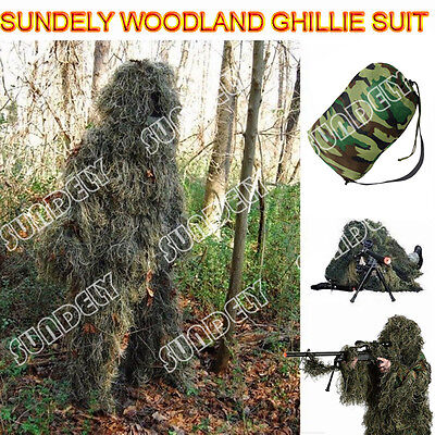 UK 5Pcs Ghillie Suit Hunting Archery Sniper Wrap Bag Paintball Camo Adult Gilly • 35.62£