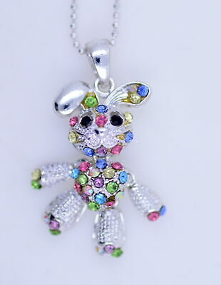 £2.99 • Buy Silver Tone Bunny Rabbit Pendant Necklace With Colourful Crystals