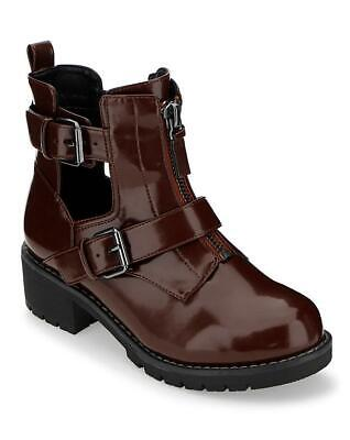Ladies Burgundy E Eee Extra Wide Fit Buckle Calf Ankle Boots Comfy Shoes Uk 4-9 • 12.99£