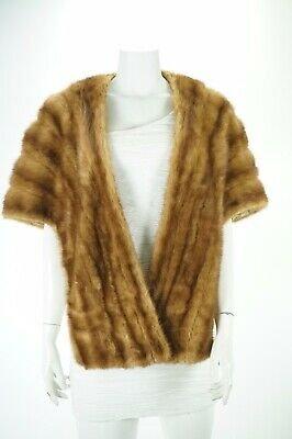 $79.99 • Buy F08176 Mink Real Fur Brown Formal Evening Shawl Stole Cape Coat S