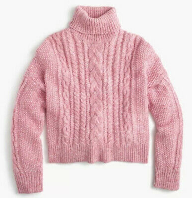 $27.99 • Buy J Crew Pink Cropped Cable Turtle Neck Sweater, Size Medium
