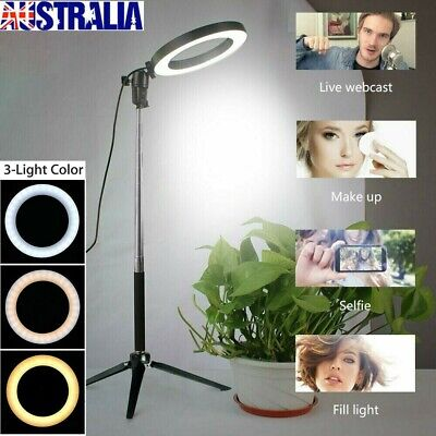 AU27.99 • Buy 8  Dimmable LED Ring Video Light Makeup Studio Photography Lighting + Tripod AU