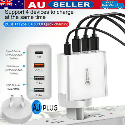 AU19.88 • Buy Fast Charging Charger + Type C Wall Plug Adapter Qualcomm QC3.0 48W PD Multi USB