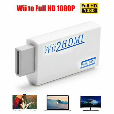 Wii Input To HDMI 1080P HD Audio Output Converter Adapter Cable 3.5mm Jack Audio • 3.98£