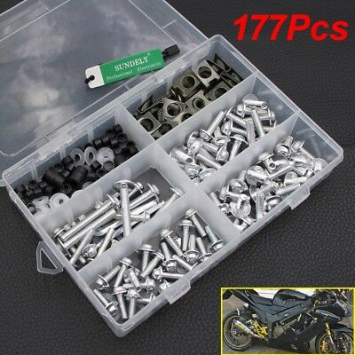 177x Silver Fairing Bumpers Panel Bolts Kit Fastener Clips Screw For Motorcycle • 14.99£