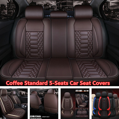 $ CDN164.54 • Buy Deluxe Car Seat Covers Front+Rear PU Leather Full Set For Interior Accessories