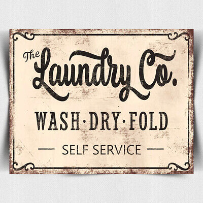 METAL SIGN PLAQUE Laundry Company Washing Clothes Launderette Humorous Print • 4.45£