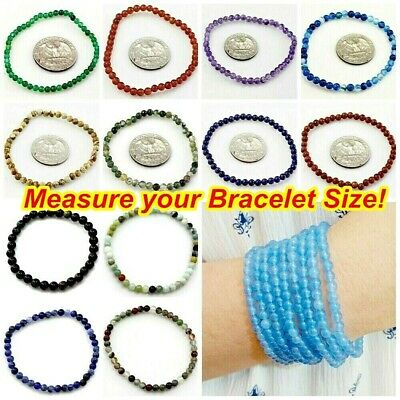 $4.99 • Buy Handmade Natural Gemstone Bracelet Round Bead Stretch Healing Reiki Kids Small