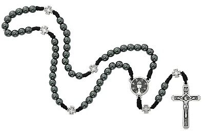 Hematite Corded Rosary First Communion Gift Boys Girls Pewter Crucifix Chalice • 24.69£