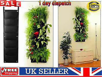 UK✔ 7 Pocket Vertical Garden Planter Wall Hanging Bag Garden Planting Bags Herbs • 6.64£